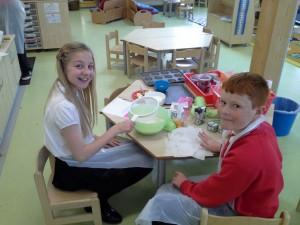 Logan and Charlotte baking