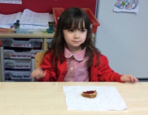 Evie chose jam out of the different toppings.