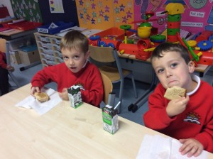 Conan and Kaleb had milk with their bread.