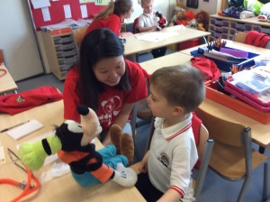 The Teddy Bear Hospital visited us today.  We got our teddies checked and enjoyed some fun activities.