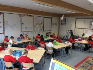 Everyone quiet and concentrating... big Maths Beat That test