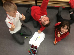 Cooperative learning, making rhymes.