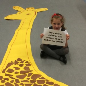 Kayla wonders how many children will be the same as our giraffe.